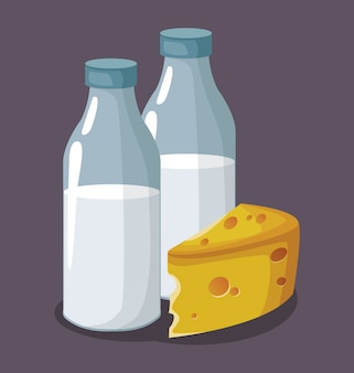 Butelki z mlekiem i kawałek sera