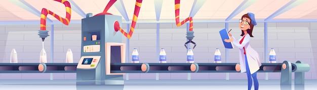 Butelki z mlekiem na fabrycznym przenośniku z robotycznymi ramionami