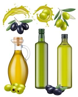 Butelki z oliwek. pakiet szkła olejowego zdrowe, naturalne produkty do gotowania potraw zielonych i czarnych greckich oliwek wektor realistyczny szablon