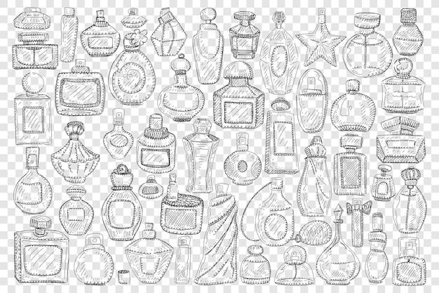 Butelki z perfumami doodle zestaw ilustracji
