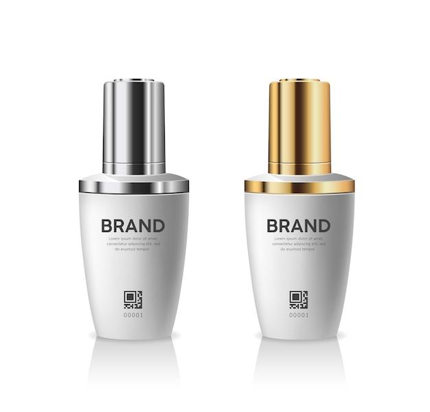 Butelki z zakraplaczem produkty srebrne i złote kolekcje kapsli na białym tle
