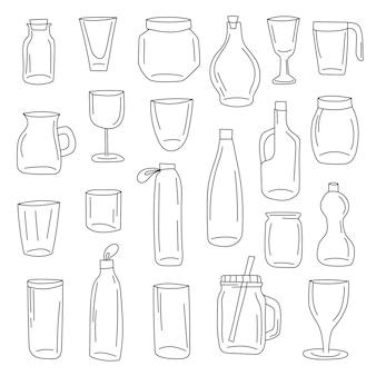 Butelki zbiory zestaw ikon. kolekcja ilustracji wektorowych szklany garnek. słoiki ręcznie rysowane stylu sztuki linii.