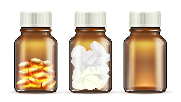 Butelki ze szkła lekarskiego. realistyczna butelka tabletek. na białym tle przezroczyste opakowanie leków