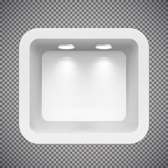 Butik w górnej ścianie ze źródłami światła. ilustracja na białym tle.