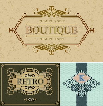Butikowe obramowanie kaligraficzne i marka retro, szablon aligraficzny retro luksusowa granica