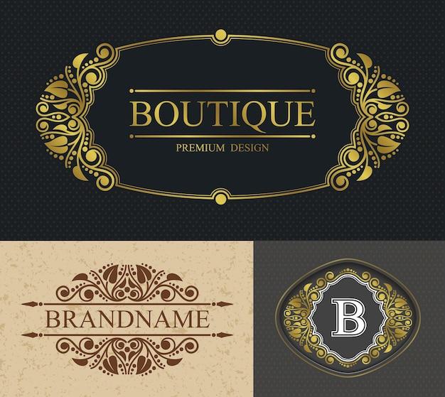 Butikowe obramowanie kaligraficzne i szablon litera b, szablon aligraficzny retro luksusowa granica