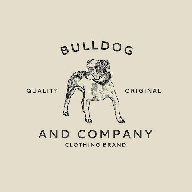 Butikowy szablon logo firmy z buldogiem w stylu vintage, zremiksowany z dzieł autorstwa moriza junga