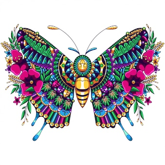 Butterfly mandala zentangle ilustracja i projekt koszulki premium