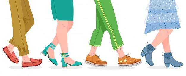 Buty do chodzenia. ludzie chodzą w nowoczesne buty, stopy mężczyzny i kobiety w stylowej ilustracji obuwia. obuwie spacerowe, nowoczesna moda na co dzień