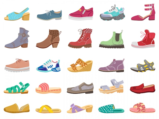 Buty i buty. zestaw nowoczesnych, eleganckich kobiet, mężczyzn i dzieci obuwie, trampki, sandały, buty na zimę i wiosnę ilustracji. trampki i buty, model, kapcie dziecięce