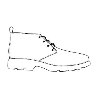 Buty męskie na białym tle. mężczyzna mężczyzna sezon buty ikony. szkic techniczny. ilustracja wektorowa obuwia