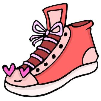 Buty męskie z zakochaną twarzą. kreskówka ilustracja naklejka maskotka emotikon
