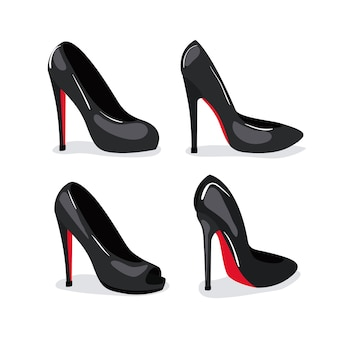 Buty na obcasie realistyczne w kolorze na białym tle