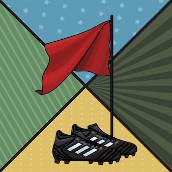 Buty piłkarskie i flaga
