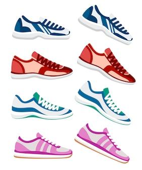 Buty sportowe. ilustracja sportowe trampki, sport fitness. modna odzież sportowa, codzienne trampki. ilustracja na białym tle.