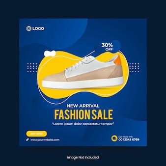 Buty sportowe lub wyprzedaż mody w mediach społecznościowych post baner i szablon banera internetowego