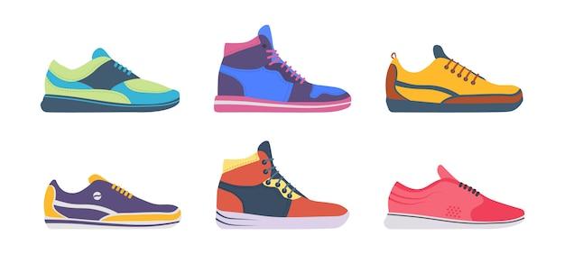 Buty sportowe sportowe trampki, fitness sport sklep kolekcja obuwia na białym tle. zestaw butów sportowych do treningu, biegania. ilustracja w płaskiej konstrukcji.