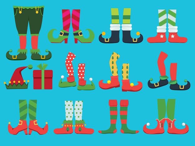 Buty świąteczne. bajkowe buty i legginsy elfów nogi chłopca świętego mikołaja i kolekcja bożonarodzeniowa wektor butów. ilustracja elf xmas buty i legginsy spodnie kostiumowe