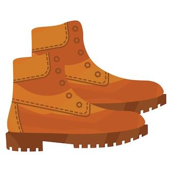 Buty wojskowe armii brązowe. bojowe amerykańskie buty wojskowe. skórzane buty na wędrówki, spacery lub do pracy. buty męskie. ilustracja wektorowa na białym tle