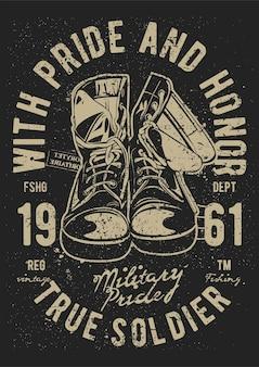 Buty wojskowe, plakat vintage ilustracji.