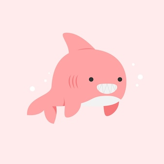 Buźka różowy rekin dziecko płaska