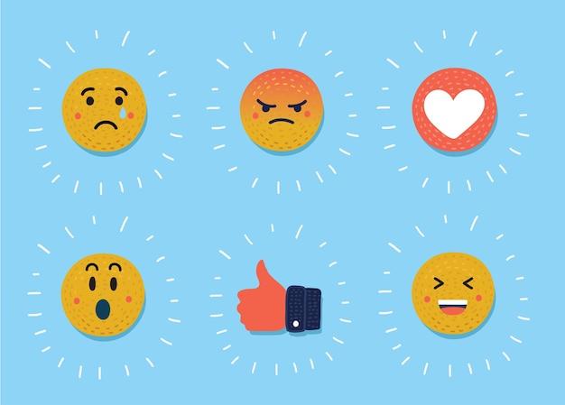 Buźka, zestaw emotikonów. żółta twarz z emocjami.