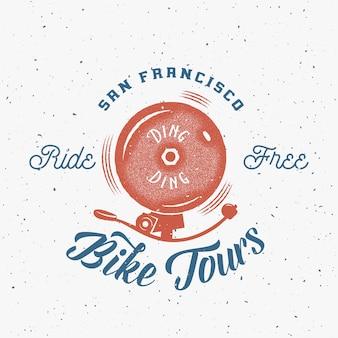 Bycicle bell streszczenie retro etykiety lub logo szablon
