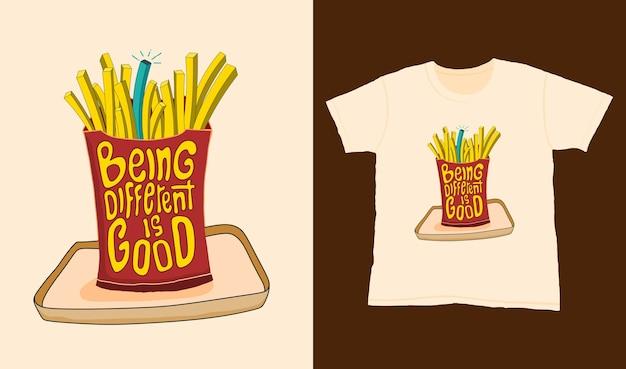 Bycie innym jest dobre. cytuj napis typografii na projekt koszulki. ręcznie rysowane napis