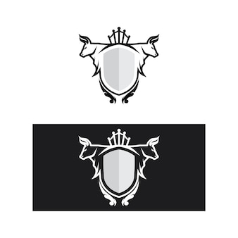 Byk bawół głowa krowa i tarcza zwierzę maskotka projekt logo dla sportu