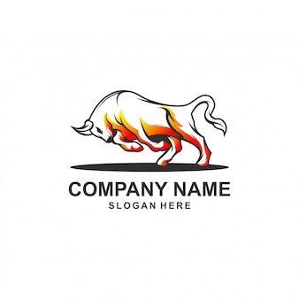 Byk ilustracja logo projekt premium