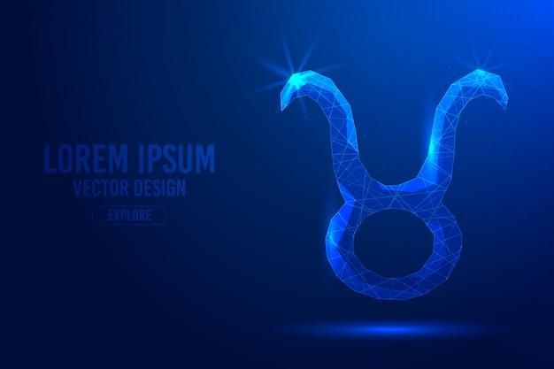 Byk jest drugim znakiem zodiaku na abstrakcyjnym tle. liniowa i wielokątna koncepcja horoskopu 3d, konstelacja niebieska.