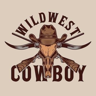 Byk longhorn i broń kowbojska z dzikiego zachodu