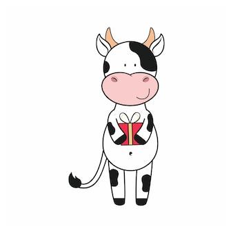 Byk na białym tle na białym tle trzyma prezent. symbol 2021. ilustracja kreskówka wektor na nowy rok, boże narodzenie, urodziny. zaprojektuj kartki okolicznościowe, pozdrowienia, naklejki na stronę internetową.