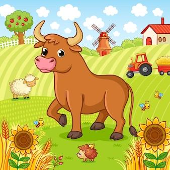 Byk stoi na polu obok jeża i owcy
