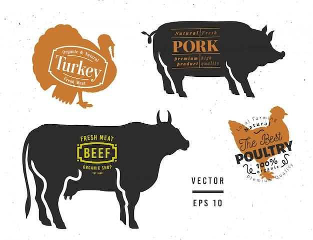 Byk, świnia, indyk, sylwetki kurczaka. zestaw elementów sklepu mięsnego.