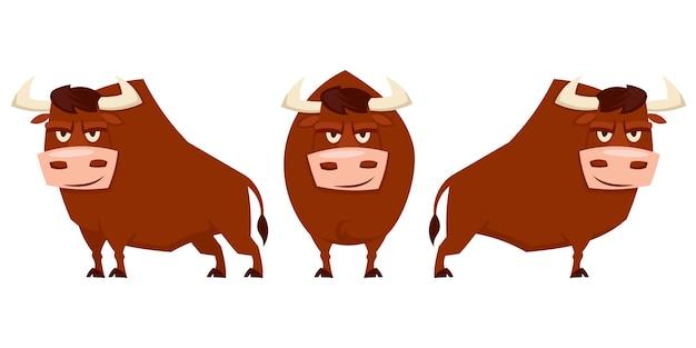 Byk w różnych pozach. zwierzęta hodowlane w stylu cartoon.