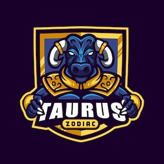 Byk ze złotym opancerzonym logo byk zodiak esport