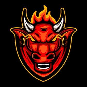 Byk zły z ogniem nad głową, zespół logo esport