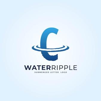C niebieski gradient litera fala plusk wody fala dynamiczne logo wektor ikona ilustracja