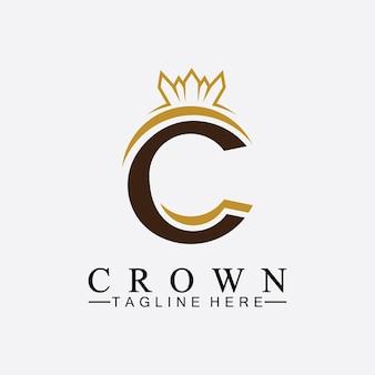 C początkowe projekty logo korony projekt ilustracji wektorowych