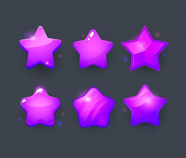 Ç zestaw ikon fioletowej gwiazdy. rozwój gry.