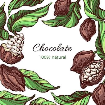 Cacao frame nature design liść fasoli owoców tropikalnych ręcznie rysowane ilustracji