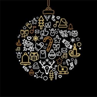 Cacko sylwetka z ikonami liniowych świąt bożego narodzenia. bombka bożonarodzeniowa z odosobnionymi świątecznymi dekoracjami