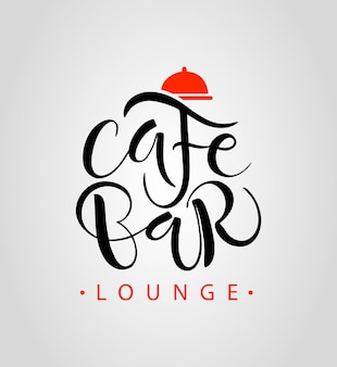 Cafe bar restaurant lounge logotyp ilustracji wektorowych wektorowa kawiarnia szablon handdrawn grafika