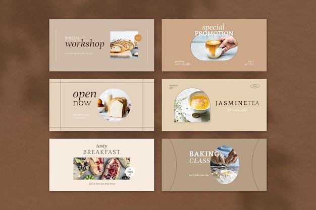 Cafe marketing wektor zestaw szablonów nagłówka twittera