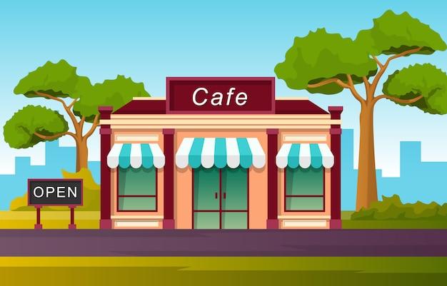 Cafe płaska ilustracja