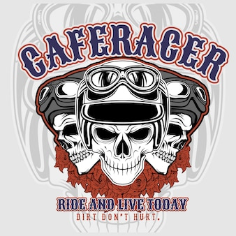 Cafe racer 3 czaszki w hełmach