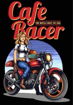 Cafe racer kobieta z rocznika motocykla