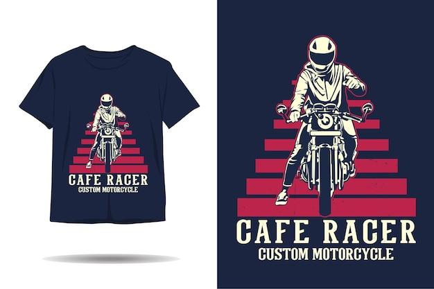 Cafe racer niestandardowy projekt koszulki motocyklowej