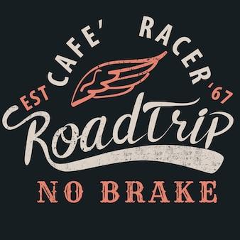 Cafe racer roadtrip typograficzny na t-shirt.